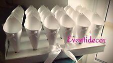Vassoio + 24 coni portariso portaconfetti bianchi perlati con fiocchetto e perla