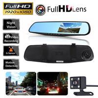 "4.3"" Dual Lens Car DVR Dash Cam Rearview Camera Mirror Front Rear Video Recorder"