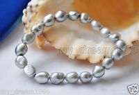 Real Natural 8-9mm Gray Baroque Freshwater Cultured Pearl Stretch Bracelet 7''