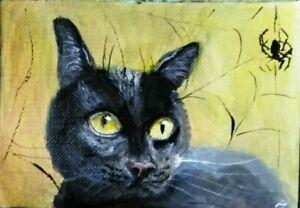 BLACK CAT Portrait Hand Painted Pet Kitten Original Acrylic Signed by Velasquez