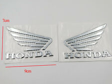 Motorcycle 3D Raise Fuel Tank Emblems Decal for Honda Wing Silver Pair 9 x 7cm
