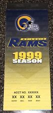 1999 St. Louis Rams Unused Ticket Book Kurt Warner 1st Start/TD Super Bowl Champ