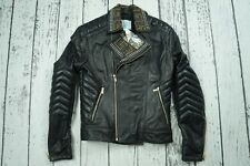 USED VERSACE H&M MENS JACKET COAT BIKER LEATHER 100% AUTHENTIC SIZE S 46