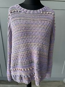 Hand Knitted Ladies Purple Pastel Rainbow Chunky Knit Long Jumper Sz Large