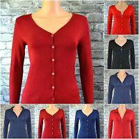 Women's Black Red Blue Cotton V-Neck Zip & Button Cardigan Uk 8 10 12 14 16