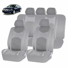 ALL GRAY HONEYCOMB MESH AIRBAG READY SPLIT BENCH SEAT COVERS SET FOR CARS 1244