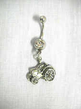 NEW FIELD TRACTOR SEXY FARMER GIRL DANGLING PEWTER CHARM 14g CLEAR CZ BELLY RING