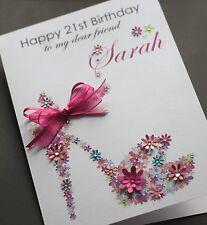 Grande A5 Personalizzata Fatto a mano floreale Scarpa Compleanno Carta sorella, amico, mamma