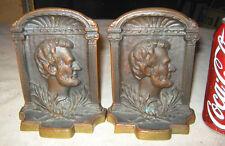 Antique Solid Bronze Abe Lincoln Art Statue Sculpture President 3-D Bookends