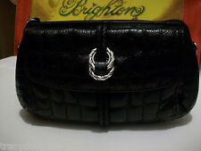NWT Brighton Shoulder Bag  with Wristlet Strap. Glazed Quilted Black Leather