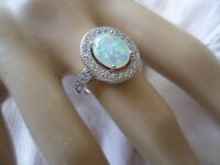 Art Deco Vintage Jewellery Sterling Silver Opal Ring Sapphires Antique Jewelry
