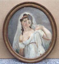 Tableau Ovale Ancien Huile Portrait de Femme au Voile Empire XIXe Cadre