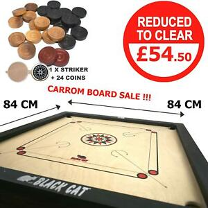 Large Carrom 33 x 33'' Board, Coins & Striker Set Great Quality Family Game