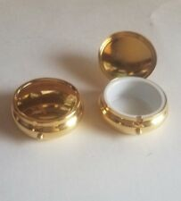 2 Decorative Round Pill Boxes Gold Color Travel Pocket Pill Medicine Pill Cases
