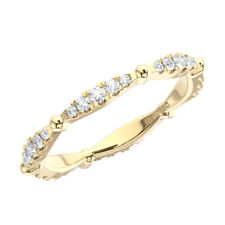 Fishtail Set Round Brilliant Cut Diamonds Full Eternity Ring in 9K Yellow Gold