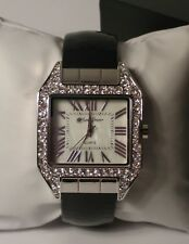 B076 JCPennys Susan Graver Black textured LEATHER cuff bangle rhinestone watch