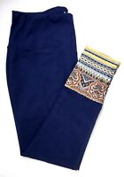 NWT $70 Chico's Zenergy So Slimming Border Print Leggings, Midnight (Navy Blue)