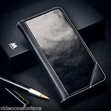 For iPhone 6 6s Authentic Genuine Real Leather Flip Wallet Case Cover Black Real