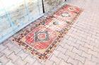 3x10 Turkish Vintage Runner, Faded Red Diamond Traditional Farmhouse Floor Decor
