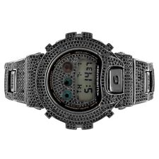 Custom Casio G-Shock DW6900-Diverso Black Iced Out Simulated Diamonds Hip Hop