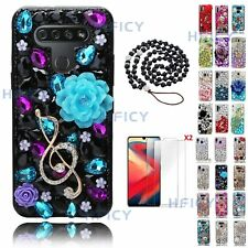 Women Bling Diamonds Purple Flowers Music Note Phone Cases With Crystals Lanyard
