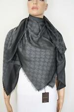 GUCCI Strickschal mit GG Muster 140x140 cm Wolle/Seide dunkelgrau NEU 281942