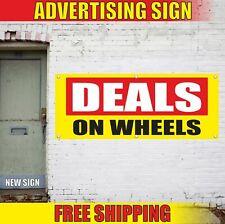 Deals On Wheels Advertising Banner Vinyl Mesh Decal Sign Car Truck Auto Trailer