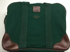 cb1e408643c Lands End Square Rigger Duffle Carry On Bag Tote Green Canvas Leather Trim