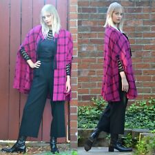 VTG 80s FINLAND Purple Plaid Tweed Ride Sweater CAPE Coat Poncho Cloak
