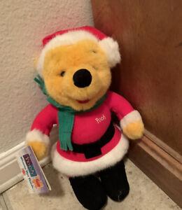 "NWT 1995 Mattel Christmas Santa WINNIE THE POOH BEAR PLUSH Stuffed Toy 9"" tall"