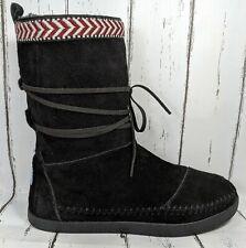 TOMS Black Suede Faux Fur Lining Winter Boots Women US 7 Light Wear