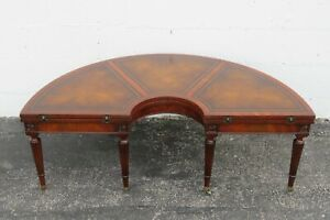 Weiman Demi Lune Leather Mahogany Flip Convertible to Round Coffee Table 2378