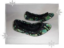 Bailarinas De Fantasía Negro Verde De Lona Cuero Burberry Talla 36