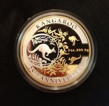 2018 $10 AUSTRALIAN KANGAROO 5 oz SILVER FROSTED PROOF Selectively Gold Plated