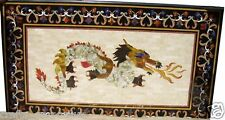 """24""""x48"""" Black Marble Dining Table Top Furniture Dragon Inlaid Marquetry Decor"""