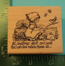 New ListingAll Creatures Great And Small - Girl with Animals Rubber Stamp by Embossing Arts