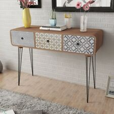 Brown Side Cabinet Console Table Hallway 3 Drawer Retro Lounge Living Room Decor