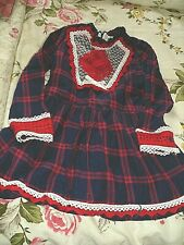 childrens clothes =Navy / red trim lined  dress pettigirl size age 6