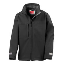 Result Kids Soft Shell Jacket Boys Girls Outdoor Coat Showerproof Windroof 9 to 10 Black