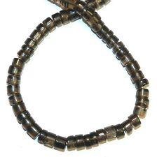 "NG2657f Smoky Quartz 6x3mm Handcut Heishi Rondelle Gemstone Beads 16"""