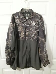 Drake Waterfowl Systems Long Sleeve Button Up Mossy Oak Camo Jacket Mens 3XL