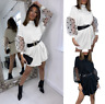 Womens Tops Short Party Loose trim Oversized Holiday UK Baggy Mini Dresses