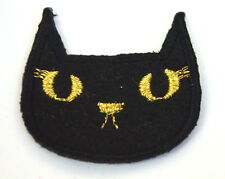 BLACK CAT HEAD WITCH LUCKY  5cm Embroidered Sew On Cloth Patch Badge  APPLIQUE
