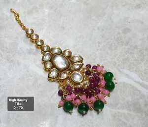 Indian Kundan Gold Plated Bridal Tikka High Quality Bollywood Jewelry Head Multi