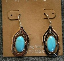 TWEEDS Mexico Earrings Sterling dangle oval turquoise hook NWT