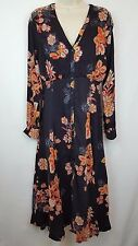 Free People 'Miranda' Floral Print Midi Dress Sz. 6 Black Combo