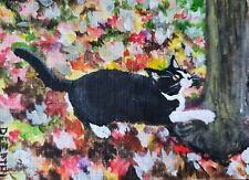ACEO original miniature painting Acrylic Art ~ Autumn Kitty