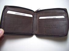 Genuine Leather Wallet - Zip around Bi-fold Brown