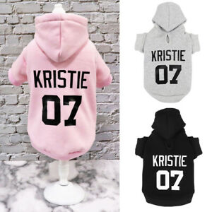 Personalized Puppy Hoodie Sweater Warm Dog Coat Sweatshirt with Name & Number