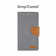 For iPhone X 8 7 6 5 SE Plus  Hard Leather Wallet Card Case Canvas Flip Cover